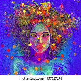 Modern digital art image of a woman's face, close up with colorful abstract background.Colorful leaves and swirls create an abstract effect for this beautiful Earth Goddess woman's close up face.