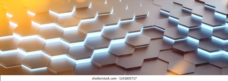 Modern digital future hexagon panorama background with blue glow (3D Rendering)