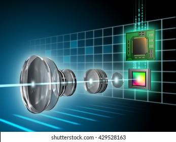 Modern digital imaging sensor, lens and image processor. Digital illustration.