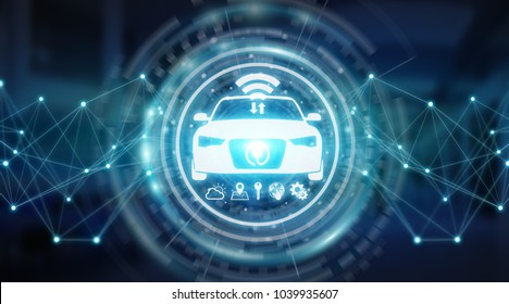 Modern digital smart car interface isolated opn blue background 3D rendering
