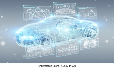 Modern digital smart car interface isolated opn grey background 3D rendering