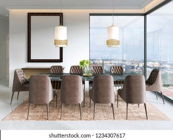 Modern dining room with hanging lamps on, there are chairs and table setup with fancy items on the marble floor. 3D rendering