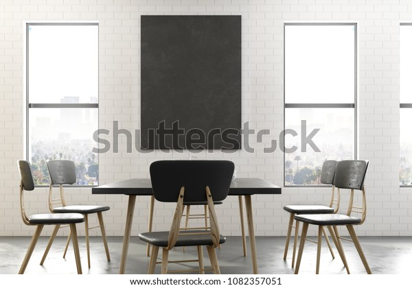 Modern Dining Room Interior Empty Banner Stock Illustration