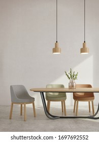 Modern dining room interior minimal style.Chairs,table,glass vase and ceiling lamp with sunlight on white wall background.3d rendering