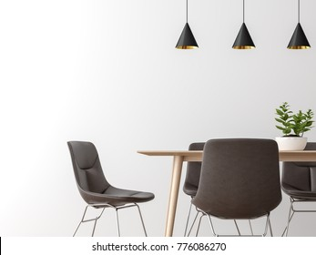 Modern dining room interior minimal style image 3d rendering,There are empty white wall,leather chair and wood desk