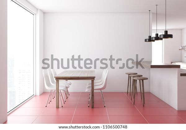 Modern Dining Room Interior White Walls Stock Illustration 1106500748