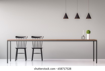 Modern dining room minimal image style 3d render.There are minimalist style image ,gray empty wall and white floor