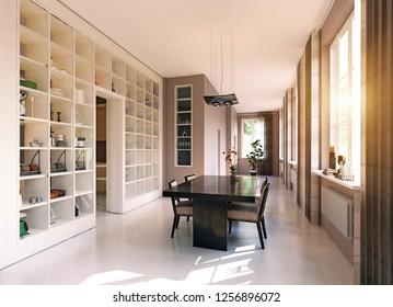 modern dining room render. 3d design concept idea