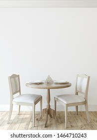 Modern dining-room. Interior mockup. Round table with two chairs near empty wall. 3d render.