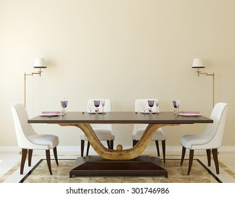 Modern dining-room interior.3d rendering.