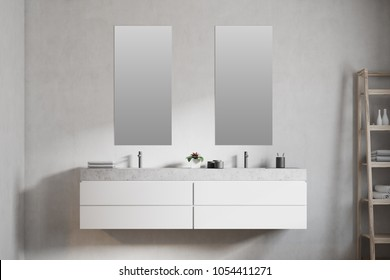 Modern double sink in a white wall bathroom interior with a large horizontal mirror and creams. 3d rendering mock up