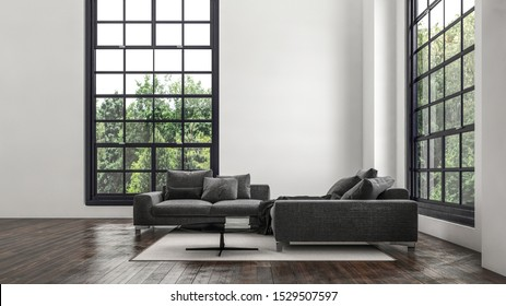 Modern double volume living room with cozy seating area between two large cottage pane windows overlooking leafy green trees. 3d rendering