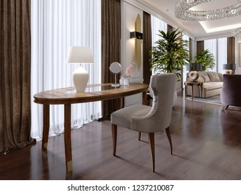 A modern dressing table in a classic style with a soft quilted chair and a bedside table with a bag in a luxury apartment. 3D rendering.