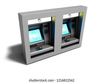 Modern dual ATM included for electronic money transfer 3d render on white background with shadow