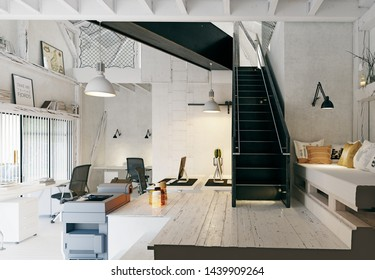 modern eco office, country architecture design. 3d rendering concept