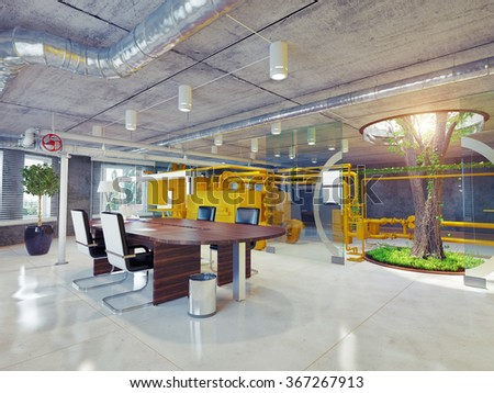 Modern eco office interior d architectural stock illustration