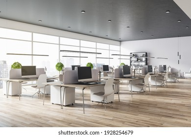 Modern eco spacious office with wooden floor and tables, big windows, grey top and white chairs. 3D rendering