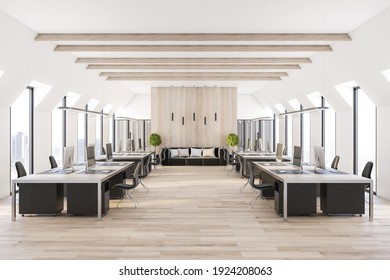 Modern eco style interior design open space office with wooden decor elements and comfortable workplaces near windows. 3D rendering