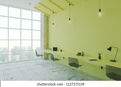 Modern eco style office room with green desk and wall, wooden floor and floor-to-ceiling window. 3D Rendering