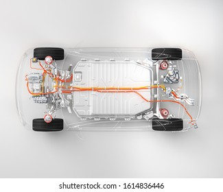 Modern electric car chassis x-ray  top down view vehicle battery in studio environment line art 3d illustration