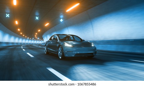 Modern Electric car rides trough tunnel with warm yellow light 3d rendering