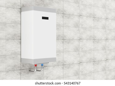 Modern Electric Water Heater on the Concrete Tiles Wall with place for Your Text. 3D Rendering