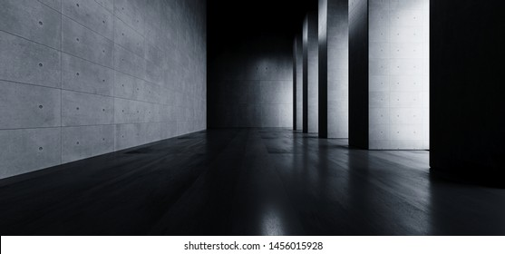 Modern Elegant Architecture Grunge Concrete Columns Cement Reflective Underground Hallway Room Garage Gallery Tunnel Corridor Dark Empty Background 3D Rendering Illustration