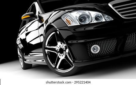 A modern and elegant black car illuminated