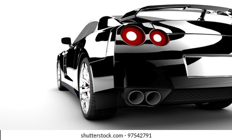 A modern and elegant black car with red lights