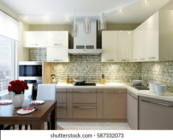 Modern elegant and luxurious kitchen interior design turquoise, green and beige colors with dining area, dining table and chairs. 3d render