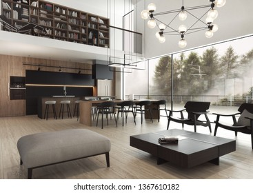 Modern, elegant, luxurious and spacious interior with great view on the forest. 3D illustration