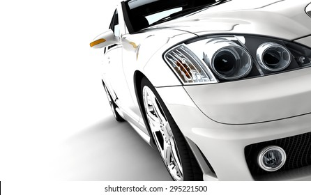 A modern and elegant white car on a white background