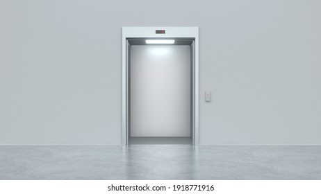 Modern elevator with open metal doors. Concept of business center or hotel lifting template. Mock up. 3d render