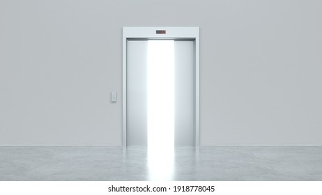 Modern elevator with semi-open metal doors. Light shines from door opening. Decision making concepts, different possibilities. Choice, business and success concept. 3d render