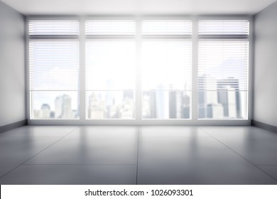 Modern empty concrete office interior with large windows and panoramic city view. 3D Rendering
