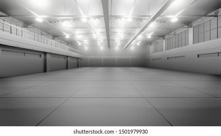 Modern empty dark storehouse with smoke at the end. 3D illustration