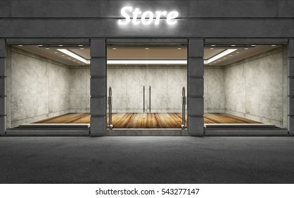 Modern Empty Elite Store Front with Big Windows at Night. 3D Rendering