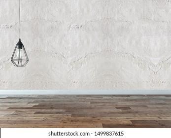 modern empty house interior design and lamp. 3D illustration