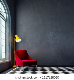 Modern empty interior design with red armchair and yellow floor lamp 3D Rendering, 3D Illustration