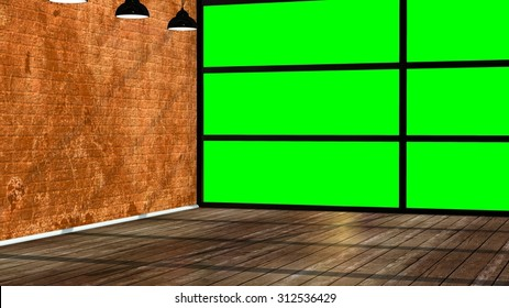 Modern empty interior in the loft style with big green screen window