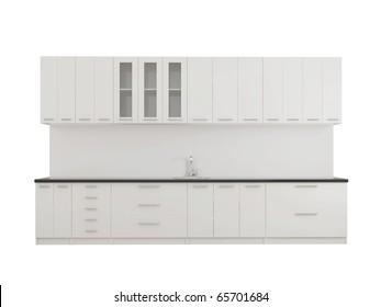 Modern empty kitchen isolated on white