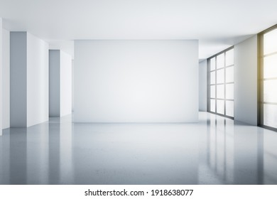 Modern empty light hall room with blank white wall, glossy floor and windows to the floor with city view. Mockup. 3D rendering.