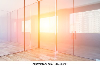 Modern Empty  office Cabinet. Meeting room. 3D rendering. Sunset