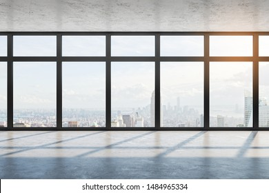 Modern empty office interior with city view, daylight and concrete floor with shadows. 3D Rendering