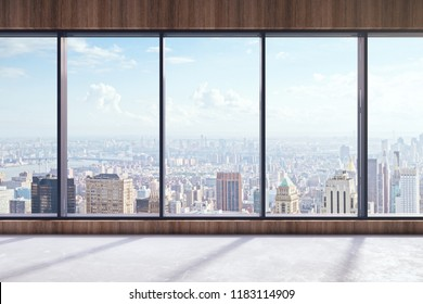Modern empty office interior with panoramic city view and sunlight. 3D Rendering