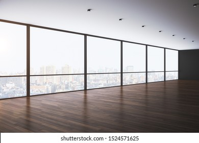 Modern empty office interior with panoramic new york city view, daylight and reflections on wooden floor. 3D Rendering