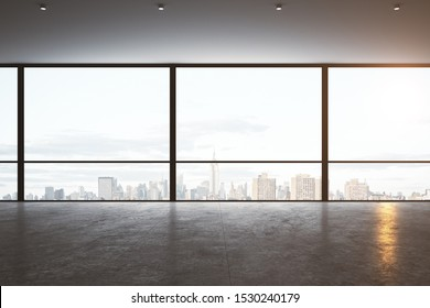 Modern empty office interior with panoramic new york city view, daylight and reflections on concrete floor. 3D Rendering