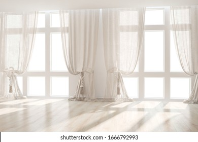 modern empty room with curtainsinterior design. 3D illustration