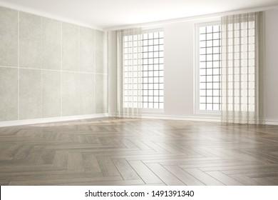 modern empty room with curtainsn interior design. 3D illustration