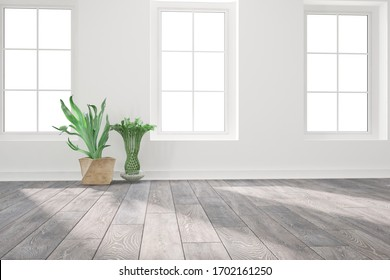 modern empty room with plants and black floor interior design. 3D illustration